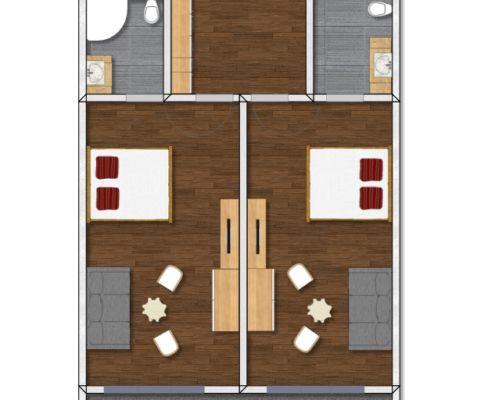 Grundriss Luxus Appartement Tirol, Zimmertyp 3 Dachgeschoss, Apart Peppone