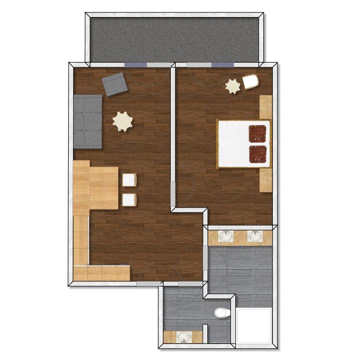 Grundriss Luxus Appartement Tirol, Zimmertyp 2, Apart Peppone