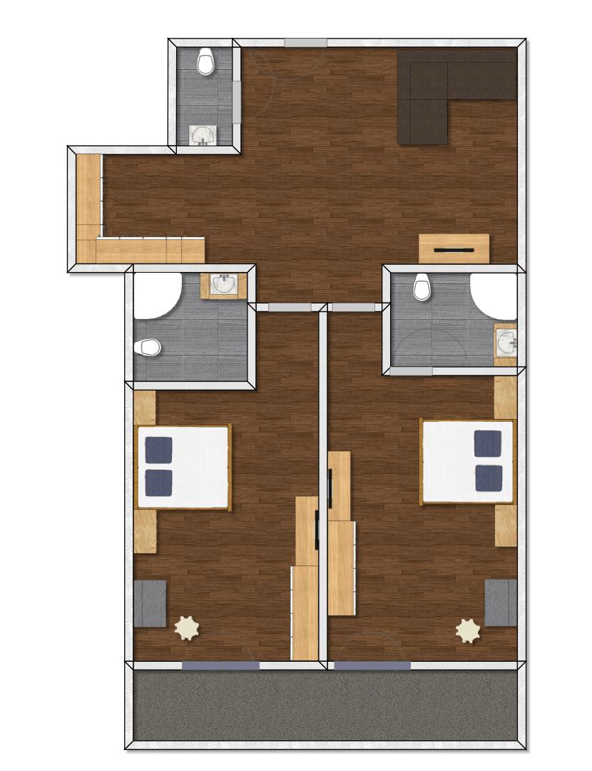 Grundriss Appartement Typ 4 im 1. OG Apart Peppone